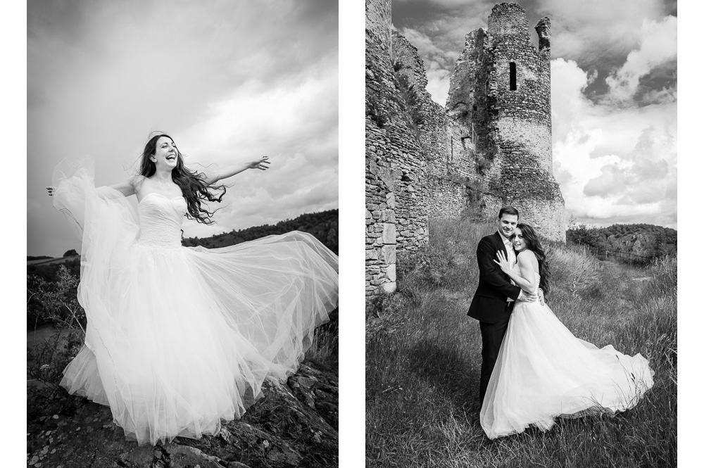 photo de couple de maris chteau rocher en noir et blanc - Photographe Mariage Clermont Ferrand