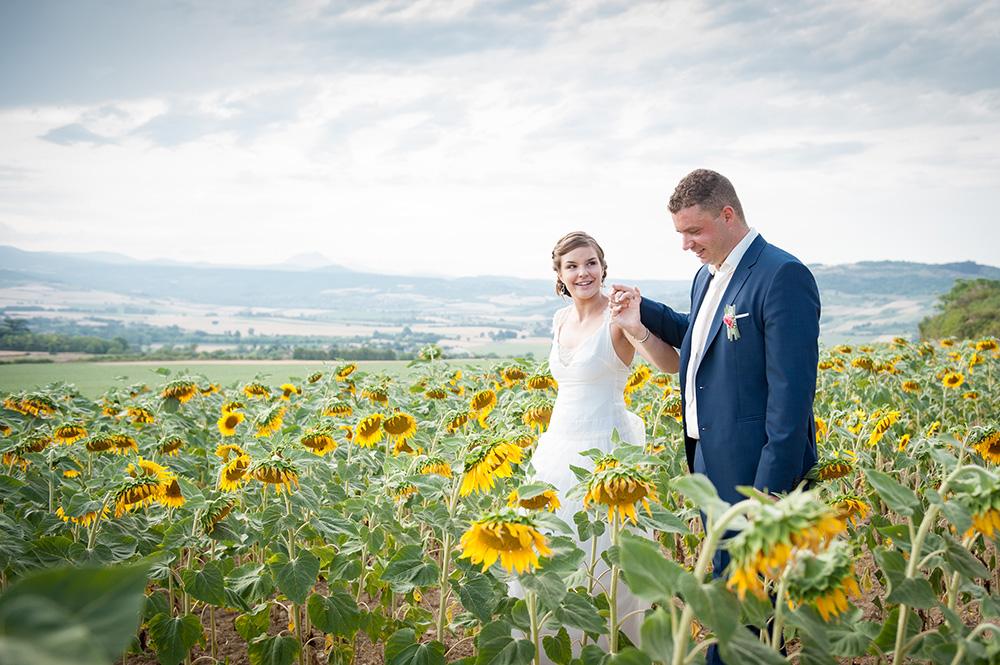 Photo de couple de mariage dans un champ de tournesol avec la chaine des puys dans le village de montpeyroux en auvergne.