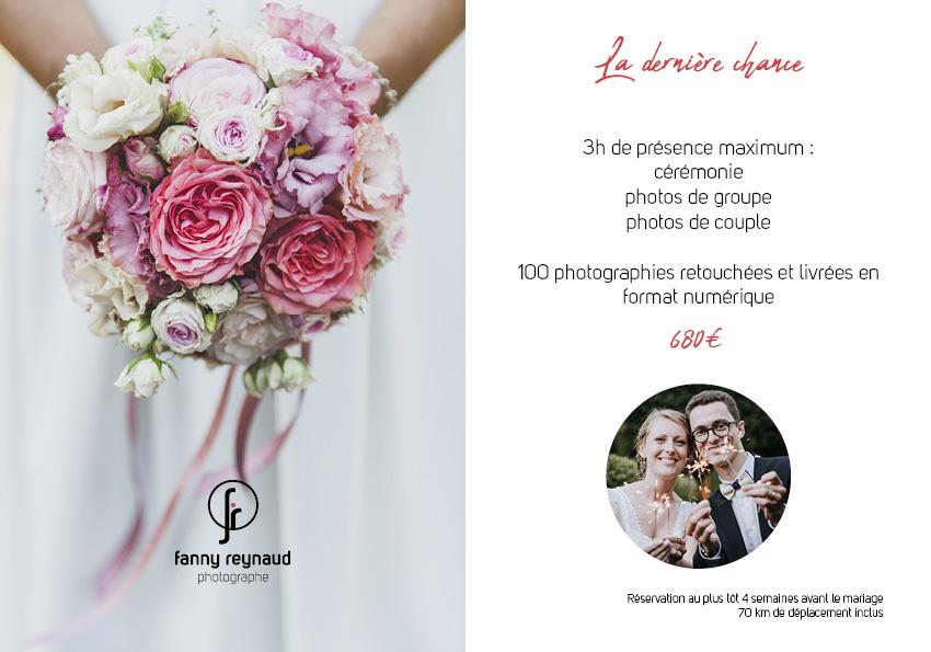 Photographe professionnelle de mariage, offre petits budgets dernière minute