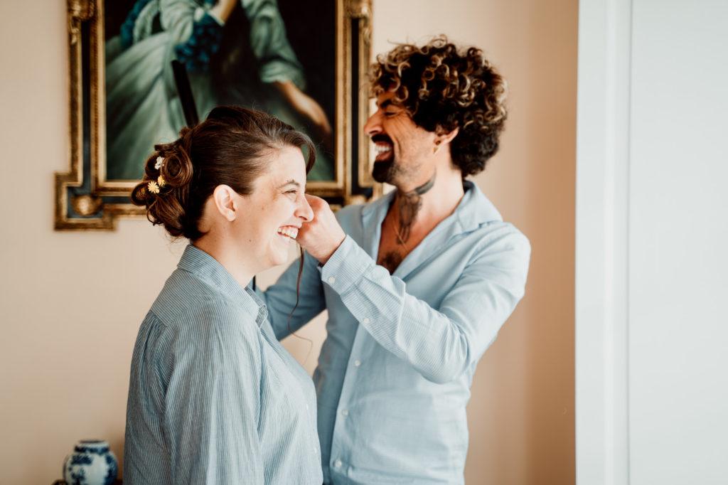 coiffure de la mariée au chateau de feligonde à sayat